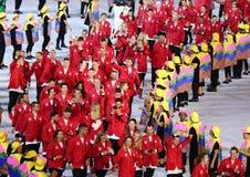 Gruppo olimpico Canada che marcia allo stadio di Maracana durante la cerimonia di apertura 2016 di Rio Immagini Stock