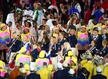 Gruppo olimpico di Federazione Russa nella cerimonia di apertura 2016 di Rio allo stadio di Maracana Immagine Stock Libera da Diritti