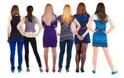 Gruppo posteriore di vista di donna Immagini Stock Libere da Diritti