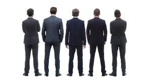 Gruppo posteriore di vista di gente di affari Isolato su bianco Isolato sopra fondo bianco immagini stock libere da diritti