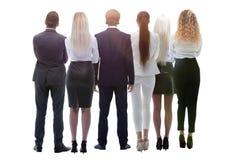 Gruppo posteriore di vista di gente di affari Isolato su bianco Isolato sopra fondo bianco fotografie stock