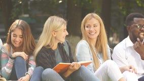 Gruppo razza mista di studenti che si siedono insieme sul prato inglese verde del campus universitario archivi video