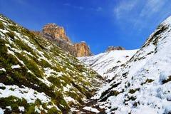 Gruppo Sassolungo Langkofel della montagna nel Tirolo del sud, Italia Fotografie Stock Libere da Diritti