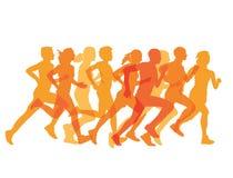 Gruppo stretto di corridori in una corsa Immagini Stock