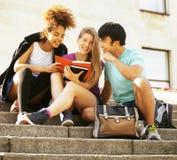 Gruppo sveglio di teenages alla costruzione dell'università con i huggings dei libri, di nuovo alla scuola Fotografia Stock Libera da Diritti