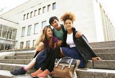Gruppo sveglio di teenages alla costruzione dell'università con i libri Immagine Stock Libera da Diritti