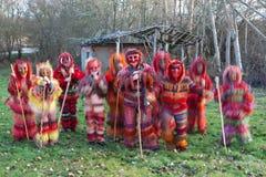 Gruppo tradizionale di travestimento Fotografia Stock Libera da Diritti