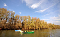 Gruppo turistico nel delta del Danubio Fotografia Stock