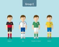 Gruppo uniforme E di calcio Fotografia Stock Libera da Diritti
