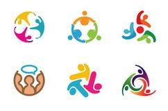Gruppo variopinto Team Logo Design della gente Fotografia Stock Libera da Diritti