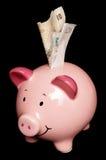 grupppengar bemärker den piggy ett pund sterling Arkivbild