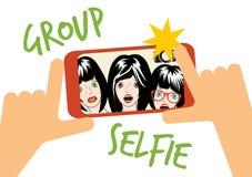 Gruppselfieillustration Royaltyfri Fotografi
