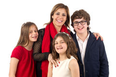 Gruppskott av en isolerad familj Arkivfoto