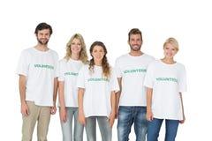 Gruppstående av lyckliga volontärer royaltyfri bild