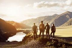 Grupy cztery gór podróży pojęcia ludzie Fotografia Stock