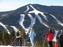 Grupy ludzi narciarstwo na halnym skłonie Obraz Stock