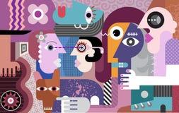 Grupy ludzi sztuki współczesnej obraz royalty ilustracja