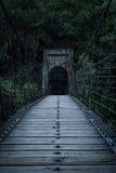 Gruselige alte Hängebrücke Lizenzfreies Stockfoto