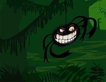 Gruselige Spinne im dunkelgrünen Sumpf Lizenzfreies Stockfoto