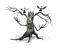 Gruseliger Baum mit verärgerten Geiern Lizenzfreie Stockfotos