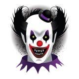 Gruseliger Clown auf Weiß Stockfoto
