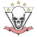 Gruseliger Schädel mit Band und Sternen Lizenzfreie Stockbilder