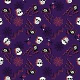 Gruseliges Halloween-Muster mit den Schädeln und Spinnennetz auf populären Farben für Kinder und Jugendlichmodedruck stock abbildung