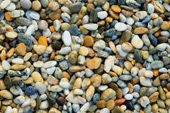Grustextur Små stenar, Little Rockar, kiselstenar i många skuggor av grå färger, vit, brunt, blått, gul färg Bakgrund av litet Arkivbild