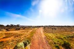 Grusväg i australisk vildmark i ljust solsken Arkivfoto