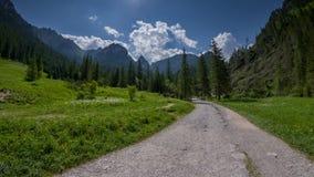 Grusväg i den gröna bergdalen i Tatrasen Arkivfoto