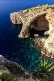 Gruta azul en la costa sur de Malta Foto de archivo libre de regalías
