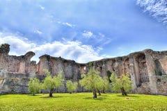 A gruta Catullus em Sirmione no lago Garda Fotos de Stock