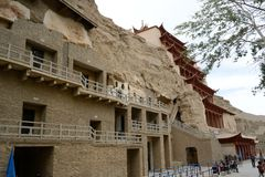 Grutas de Dunhuang Mogao Imagenes de archivo