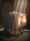Gruvarbetares kolvagn Arkivfoto