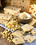 Gruyère,sliced ,diced and grated. Cheese Royalty Free Stock Image