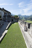 Gruyères village fortification walls, Switzerland royalty free stock photography