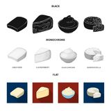 Gruyere, camembert, mascarpone, gorgonzola.Different types of cheese set collection icons in black, flat, monochrome. Style vector symbol stock illustration Stock Images