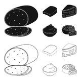 Gruyere, camembert, mascarpone, gorgonzola.Different types of cheese set collection icons in black,outline style vector. Symbol stock illustration Royalty Free Stock Photography
