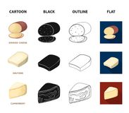 Gruyere, camembert, mascarpone, gorgonzola.Different types of cheese set collection icons in cartoon,black,outline,flat. Style vector symbol stock illustration Stock Photos