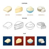 Gruyere, camembert, mascarpone, gorgonzola.Different types of cheese set collection icons in cartoon,outline,flat style. Vector symbol stock illustration Royalty Free Stock Image