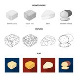 Gruyere, camembert, mascarpone, gorgonzola.Different types of cheese set collection icons in flat,outline,monochrome. Style vector symbol stock illustration Stock Photography