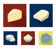 Gruyere, camembert, mascarpone, gorgonzola.Different types of cheese set collection icons in flat style vector symbol. Stock illustration Royalty Free Stock Photos