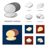 Gruyere, camembert, mascarpone, gorgonzola.Different types of cheese set collection icons in monochrome,flat style. Vector symbol stock illustration Stock Photography
