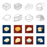 Gruyere, camembert, mascarpone, gorgonzola.Different types of cheese set collection icons in outline,flat style vector. Symbol stock illustration Royalty Free Stock Photo