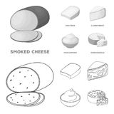 Gruyere, camembert, mascarpone, gorgonzola.Different types of cheese set collection icons in outline,monochrome style. Vector symbol stock illustration Royalty Free Stock Photography
