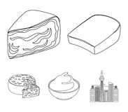 Gruyere, camembert, mascarpone, gorgonzola.Different types of cheese set collection icons in outline style vector symbol. Stock illustration Royalty Free Stock Images