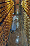 Gruyere cheese factory worker in a cellar in a cellar Royalty Free Stock Photography