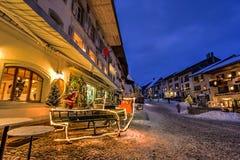 Gruyereby, Schweiz Royaltyfria Foton
