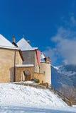 Gruyeres城堡在瑞士中世纪镇o位于 免版税库存照片
