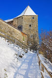 Gruyeres城堡墙壁  图库摄影